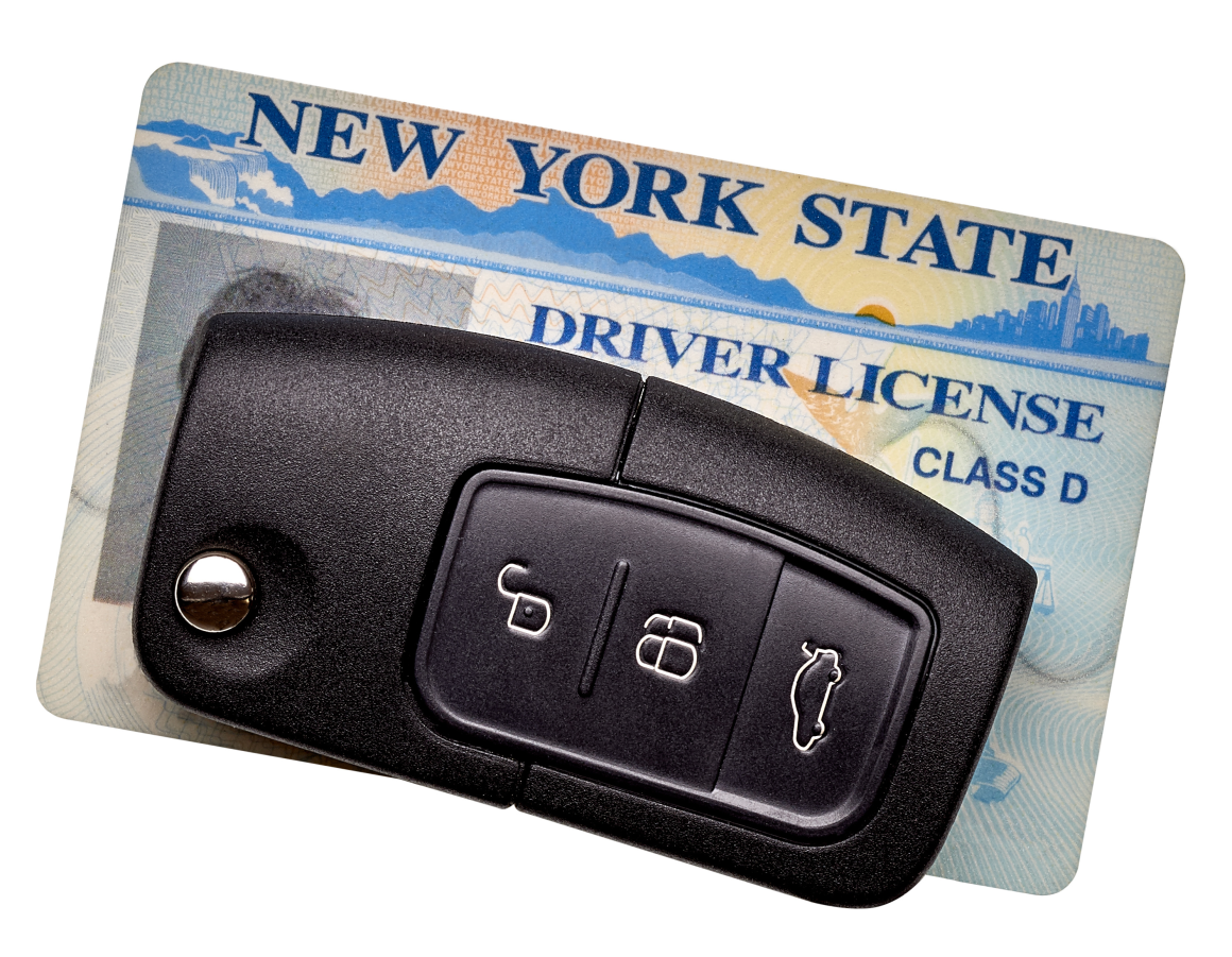 New York State driver license next to car key