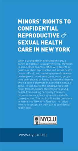 Reference Card Minors Rights To Confidential Reproductive And