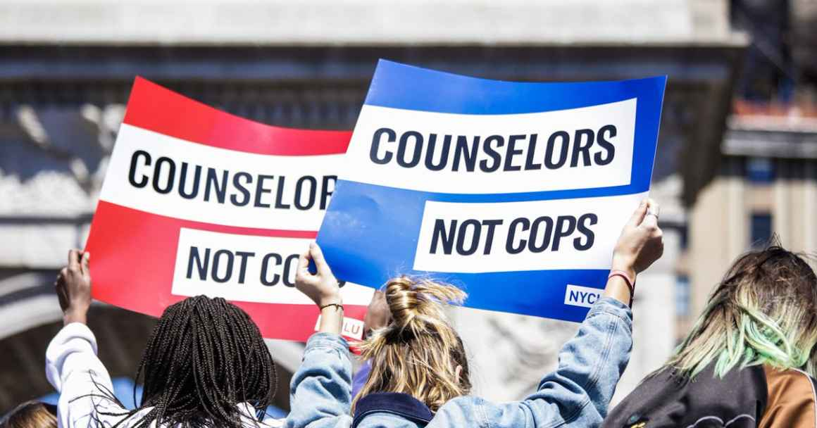 Counselors Not Cops student walkouts April 20, 2018